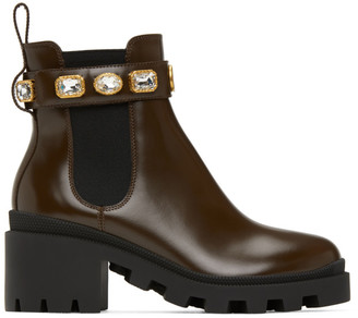Gucci Brown Belted Chelsea Boots