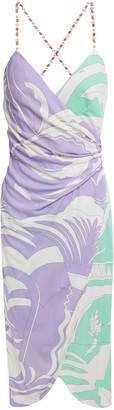 Emilio Pucci Wrap-effect Bead-embellished Printed Jersey Dress