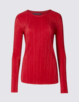 M&S Collection Plisse Round Neck Long Sleeve T-Shirt