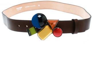DSQUARED2 Brown Leather Buckle Embellished Belt Size 95 CM