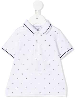 Emporio Armani Kids All-Over Logo Polo Shirt