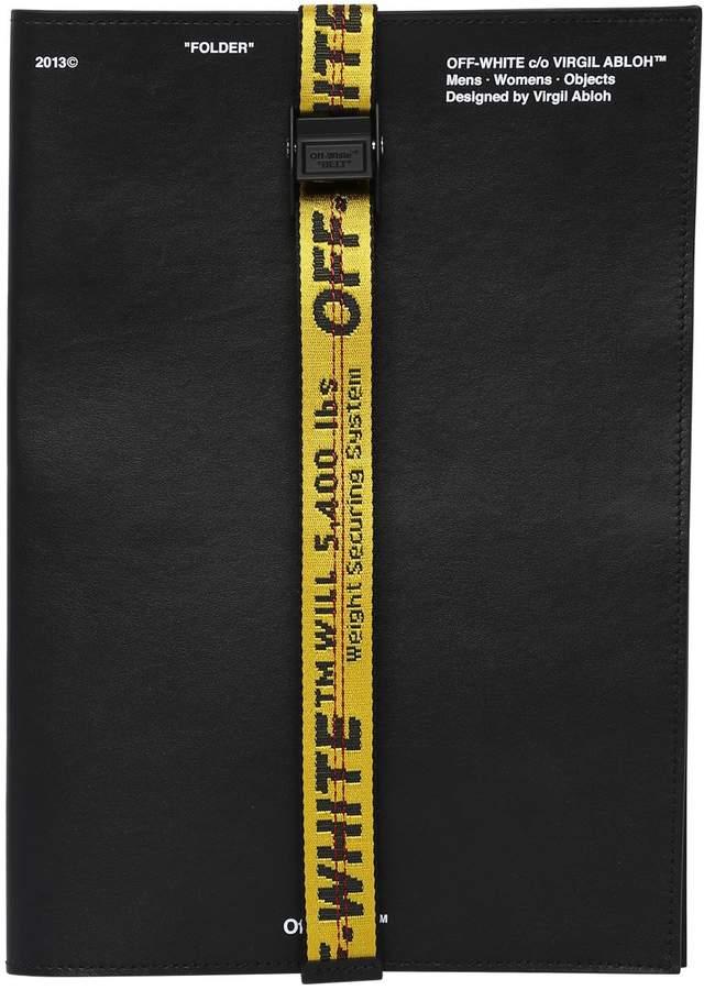 Off-White Leather Document Folder W/ Webbing Band