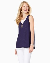 Charming charlie Flowy Colorblock Overlay Tank