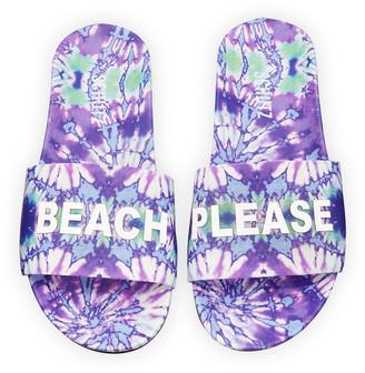 Schutz Beach Please Printed Leather Slides
