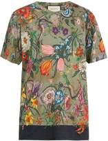 Gucci Flora snake-print linen-jersey T-shirt