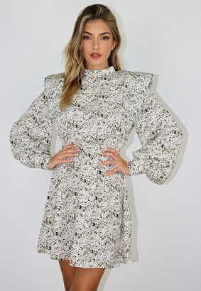 Missguided White Sprinkle Print Shoulder Pad Dress