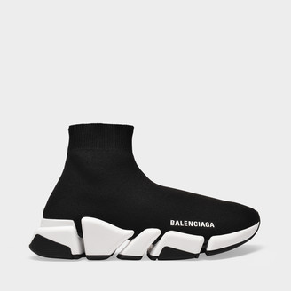 Balenciaga Speed.2 Lt Sneaker In Black And White Fabric