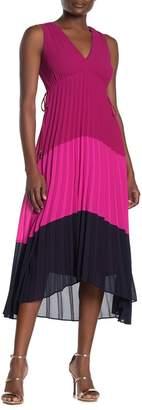 Taylor Pleated Colorblock Sleeveless Chiffon Dress