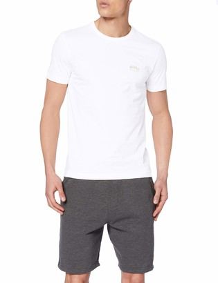 HUGO BOSS Men's Tee Curved Plain T-Shirt Black (Black 001) Small