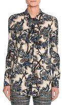 Missoni Floral Stretch Silk Shirt, Blue