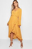 boohoo Plus Wrap Spot Midi Dress
