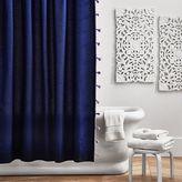 Color On Color Tassel Shower Curtain, Royal Navy/Lavender