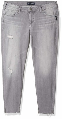 Silver Jeans Co. Women's Plus Size Aiko Mid Rise Ankle Skinny Jeans