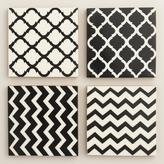Black and White Resin Coasters Set of 4