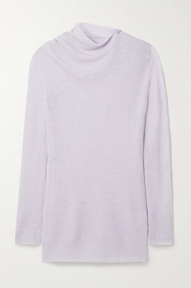 Rosetta Getty Draped Ribbed Wool-blend Sweater - Lilac