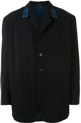 Denim Trim Single-Breasted Blazer