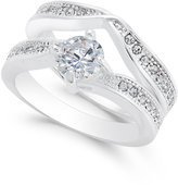 Charter Club Silver-Tone Cubic Zirconia Pavé Double Ring, Only at Macy's