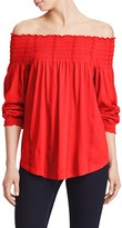 Lauren Ralph Lauren Off-The-Shoulder Embroidered Knit Top