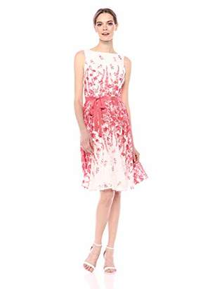 Gabby Skye Women's Floral Printed Fit and Flare Belted Dress