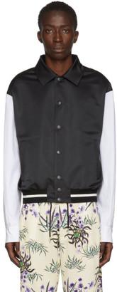 Kenzo Black and White Varsity Blouson Bomber Jacket