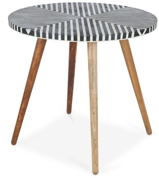 Home & Giftware Danish Side Table With Bone Inlay Large