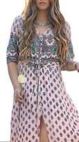 Greenis is Summer Women Dress Bohemia Beach Maxi Dress V Neck Size 3X-Large