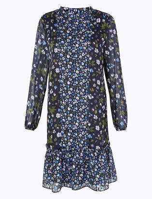Marks and Spencer Chiffon Floral Print Swing Mini Dress