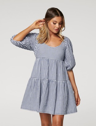 Forever New Rubi Cotton Babydoll Dress - Navy/Porcelain Gingham - 12