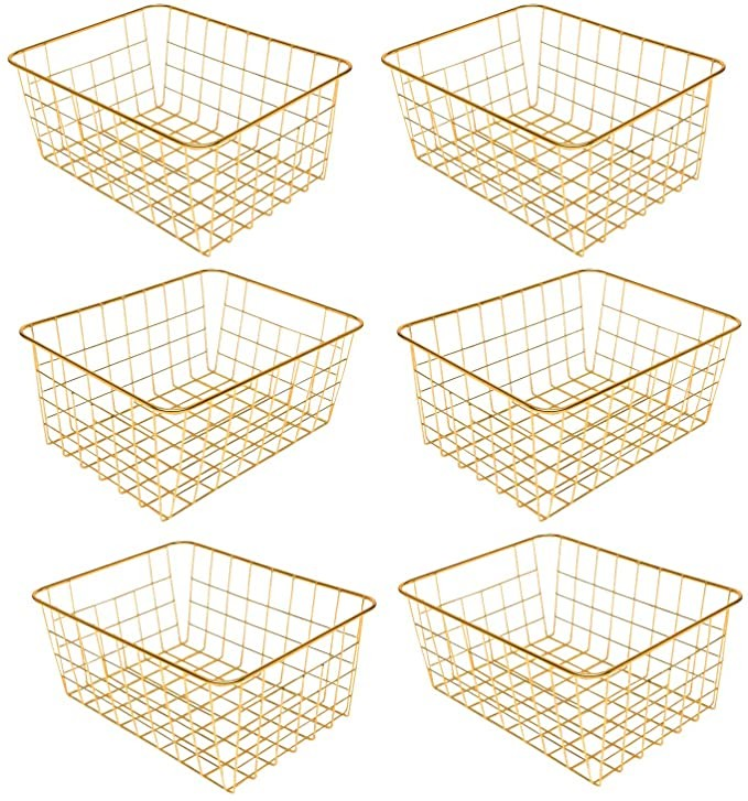 Vlish 6 Gold Wire Baskets - Pack of 6, Storage Decor Crafts, Kitchen Organizing Basket Set, Great for Home, Bathroom, Closet, Pantry Organization, Tables & Countertops, Office | Large (Gold)