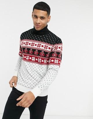 Threadbare christmas fairisle roll neck sweater