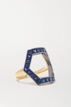 Jessica McCormack Hex 18-karat Yellow And Blackened White Gold Sapphire Ring - 53