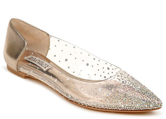 Badgley Mischka Gabi Studded Clear Ballerina Flats