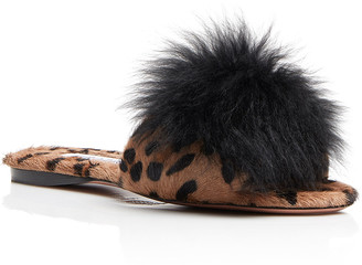 Aquazzura Foxy Calma Leopard-Print Pom Sandals