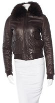 Joseph Fox-Trimmed Leather Jacket