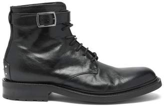 Saint Laurent Army Buckled Leather Boots - Mens - Black