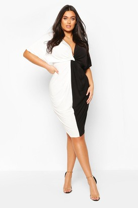 boohoo Plus Plunge Colour Block Twist Front Midi Dress