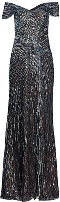 Rene Ruiz Collection Off-the-Shoulder Beaded Gown