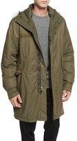 Rag & Bone Bullett Shearling Fur-Trim Down Anorak Jacket, Army Green