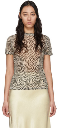 Nanushka Black and Beige Mesh Zebra Guy T-Shirt