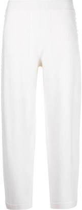 Iris von Arnim Mid-Rise Embroidered Knitted Trousers