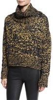 Rag & Bone Sandra Cropped Melange Turtleneck Sweater, Navy/Gold