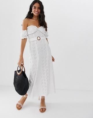 Bardot Asos Design ASOS DESIGN maxi broderie sundress with tortoiseshell belt-White
