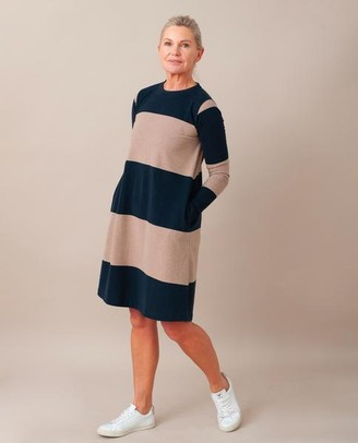 Beaumont Organic Vicky Organic Cotton Dress In Deep Indigo Stone Marl - Deep Indigo & Stone Marl / Extra Small