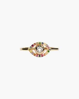 Anzie Topaz Sapphire Evil Eye Ring