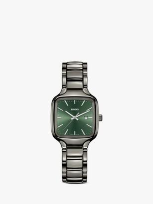Rado R27079312 Women's True Square Automatic Date Ceramic Bracelet Strap Watch, Gunmetal/Green