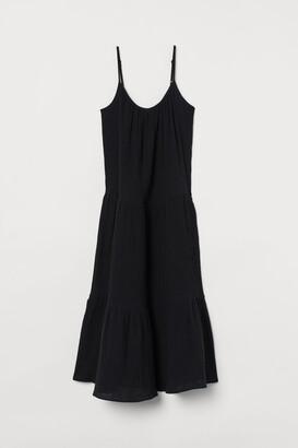 H&M Crinkled Cotton Dress - Black