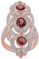 Garnet & 1/10 Carat T.W. Diamond Pink Rhodium-Plated Sterling Silver 3-Stone Ring