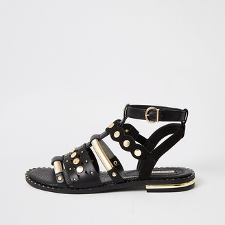River Island Black embellished gladiator sandals