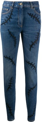 Moschino Embroidered Stitch Mid-Rise Jeans