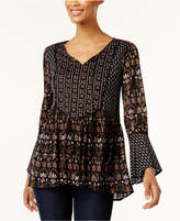 Style&Co. Style & Co Style & Co Petite Mixed-Print Peasant Top, Created for Macy's